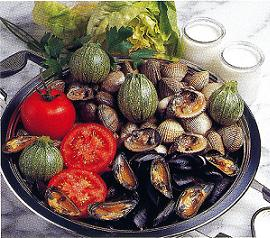 Ingredients of round zucchini stuffed with clams recipe