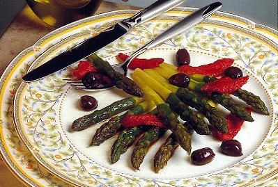 Pan Cooked Asparagus with Olives and Preserved Tomatoes
