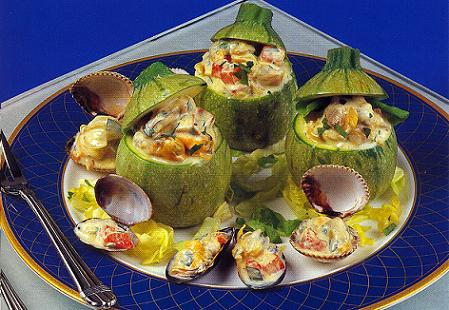 Round Zucchini stuffed with Clams