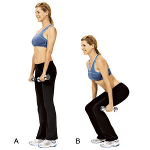 Dumbbell squats for thigh weight loss