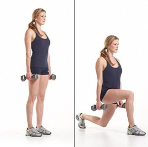 Dumbbell lunges for thigh fat loss