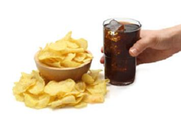 Chips and fizzy drinks